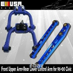Blue Rear Lower Control Arm +FRONT UP CAMBER KIT for 96-00 CivicEK CX DX EX GX