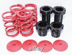EMUSA Coilover Lowering Coil Springs Sets for 91-99 nissan sentra Red