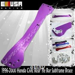 EMUSA Rear Tie Bar Subframe Brace FOR 96-00 Honda CivicEK LX DX EX SI PURPLE