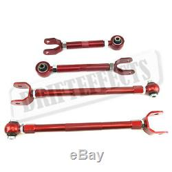 For 2003-09 Nissan 350Z Red Adjustable Rear Camber + Bucket Delete Toe Arm Kit