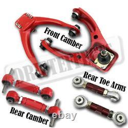 For 96-00 Civic EK Adjustable Red Front+Rear Upper Camber+Toe Arm Suspension Kit