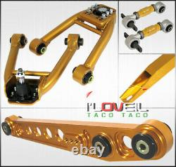 For 99-00 Civic Ek Gold Lower Control Arms LCA + Subframe Tie Brace + Camber Kit