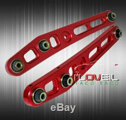 For Civic Integra Dc2 Red Lower Control Arm + Front / Rear Adjustable Camber Kit