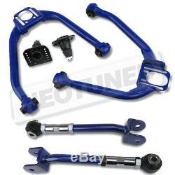 For G35 Sedan V35 03-06/Coupe 03-07 Blue Adjustable Front Upper+Rear Camber Kit