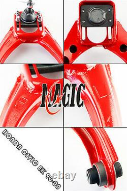 Front Upper Control Arms+Rear Camber Adjustable Kit For 96-00 Honda Civic EK Red