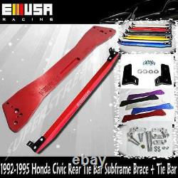 Rear Lower Control Arm+Tie Bar+Subframe Bar for92-95 HondaCivic 93-97del Sol RED