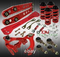 Red For Civic Combo Lowering Spring + Lower Control Arms + Camber Kit + Subframe